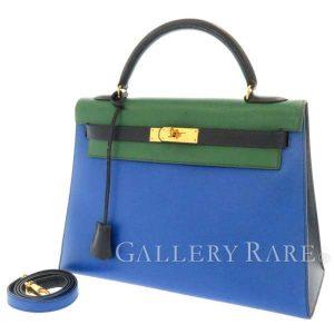 ケリー32 トリコロール 外縫い ブルー×ゴールド金具 クシュベル U刻印
